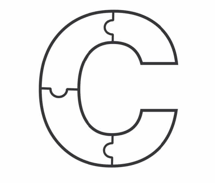 Printable Bubble Letters Puzzle Letter C