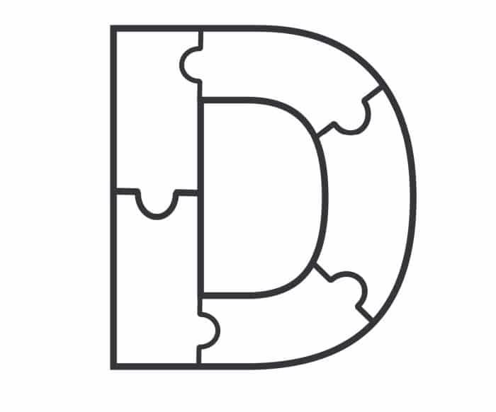 Printable Bubble Letters Puzzle Letter D