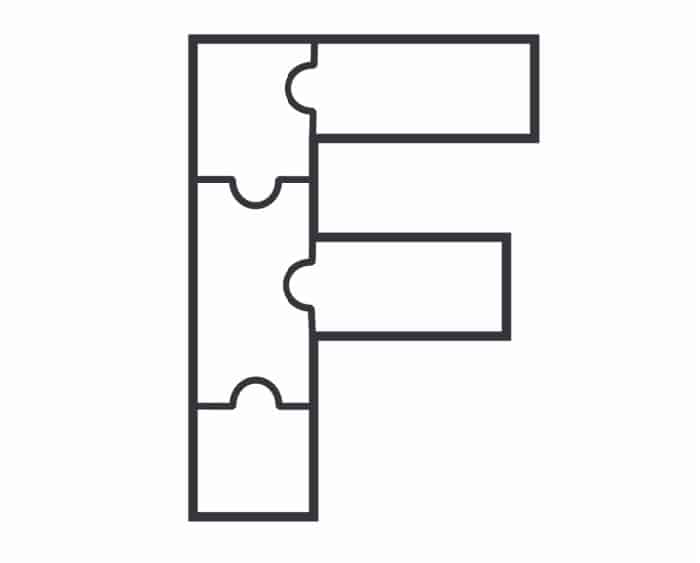 Printable Bubble Letters Puzzle Letter F