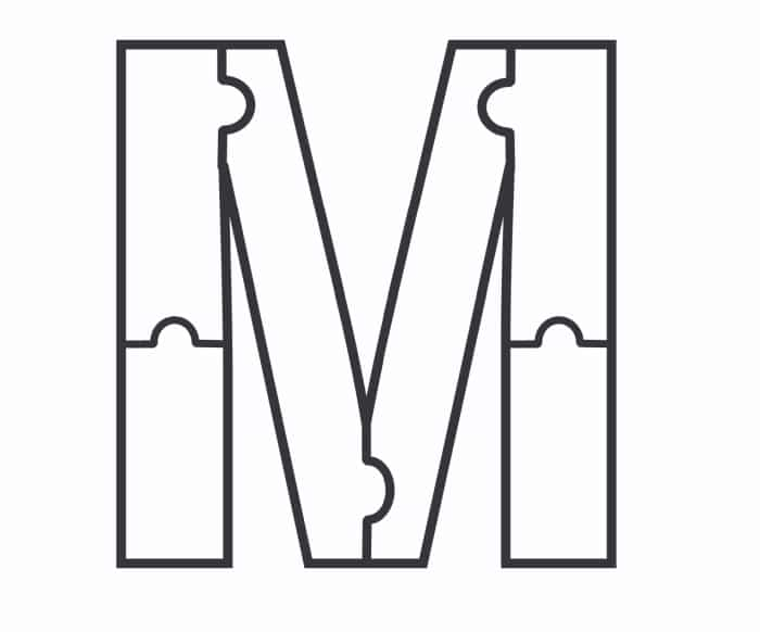 Printable Bubble Letters Puzzle Letter M