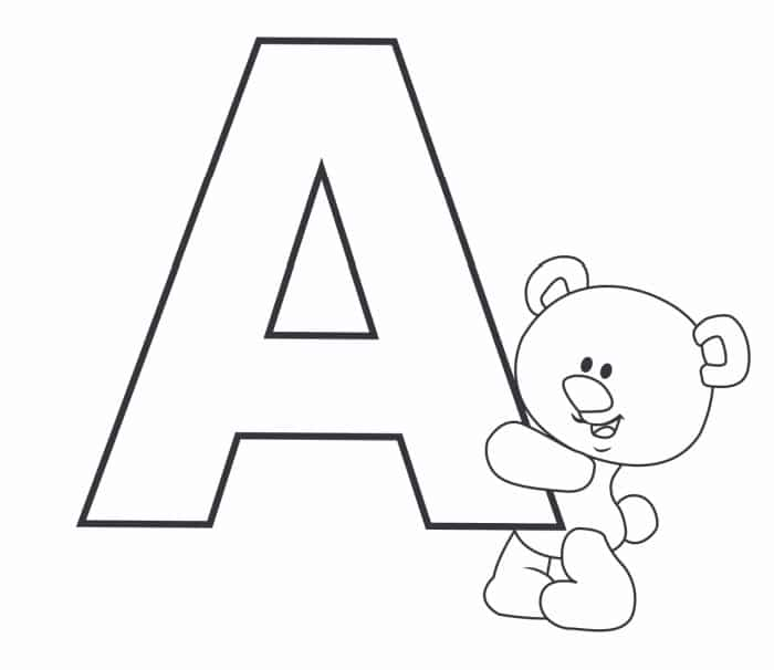 Printable Bubble Letters Teddy Bear Letter A