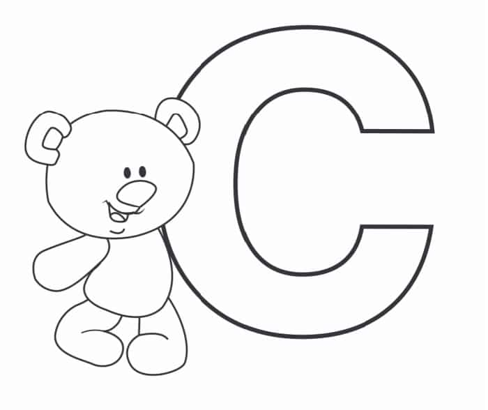Printable Bubble Letters Teddy Bear Letter C
