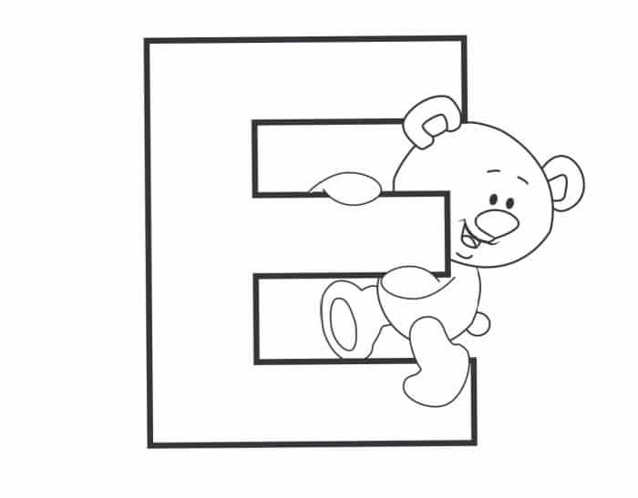 Printable Bubble Letters Teddy Bear Letter E