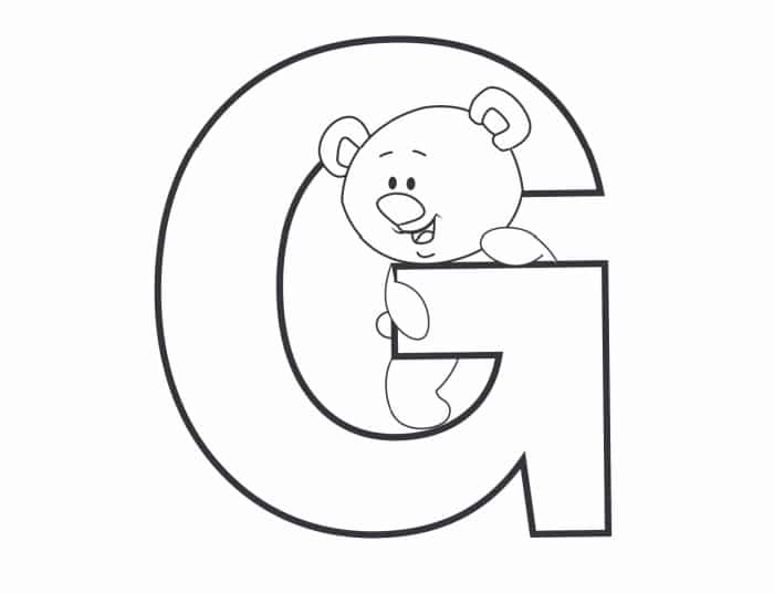 Printable Bubble Letters Teddy Bear Letter G