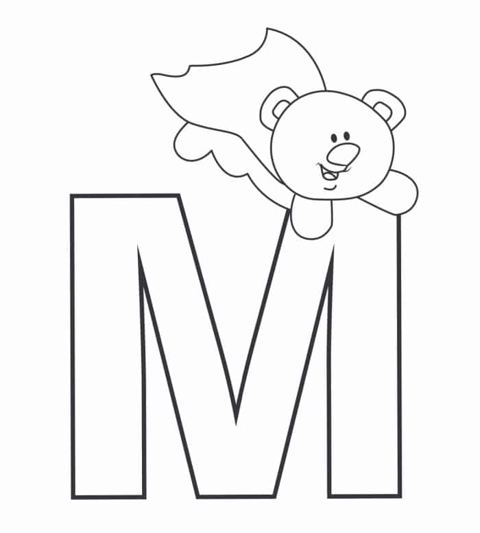 Printable Bubble Letters Teddy Bear Letter M