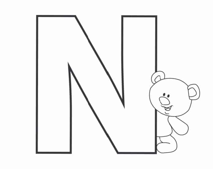 Printable Bubble Letters Teddy Bear Letter N