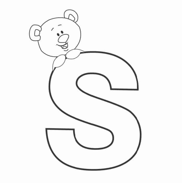 Printable Bubble Letters Teddy Bear Letter S