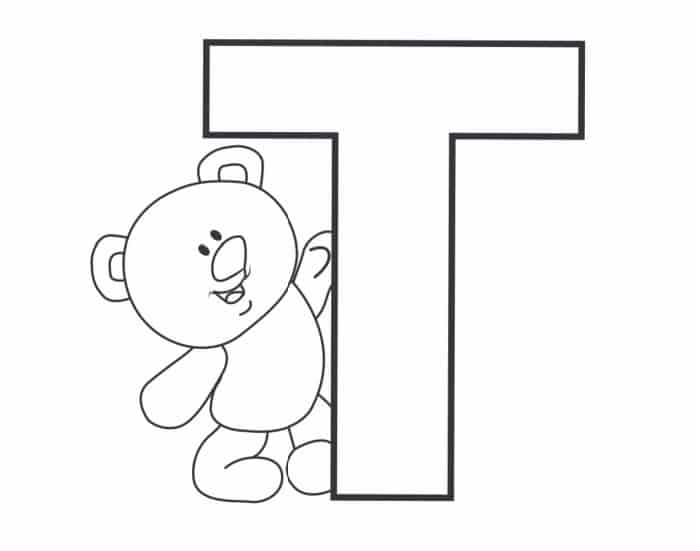 Printable Bubble Letters Teddy Bear Letter T