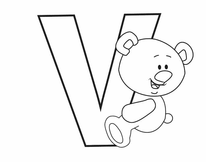 Printable Bubble Letters Teddy Bear Letter V