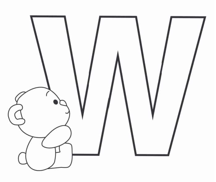 Printable Bubble Letters Teddy Bear Letter W