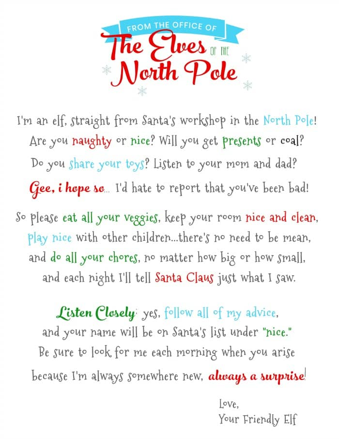 The holidays are coming so get your copy of the elf on the shelf letter template download now