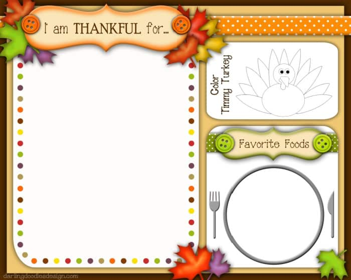 free Thanksgiving printables for preschoolers placemat