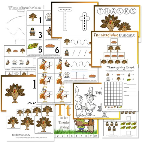 free Thanksgiving printables for preschoolers
