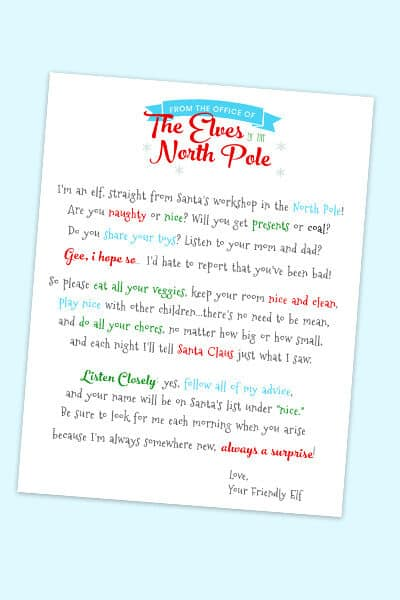 free printable Elf on the Shelf letter template download