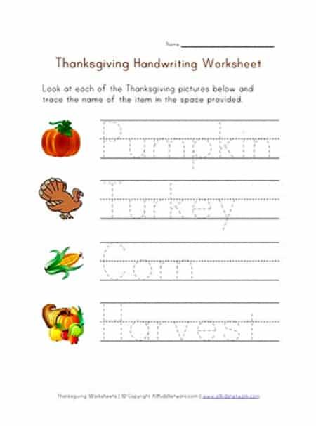 preschool Thanksgiving printable handwriting worksheet