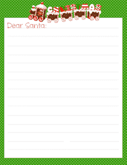 Christmas train dear Santa letter template