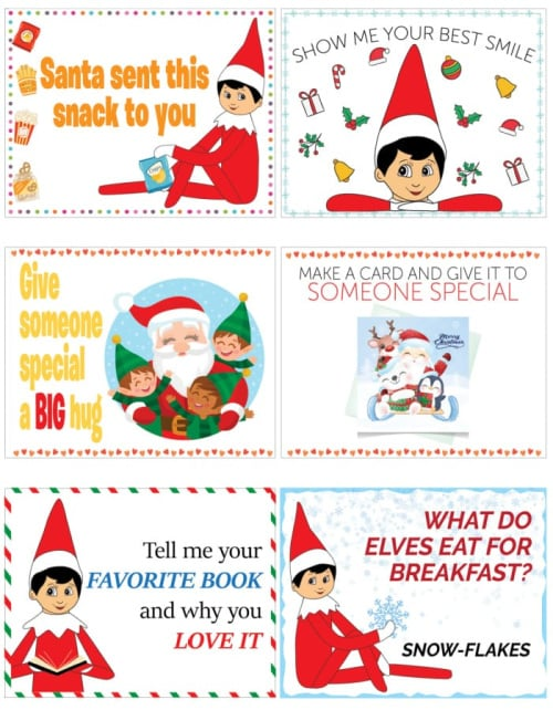 Some elf on the shelf printable note cards involve a little treat or activity; save them for a special day