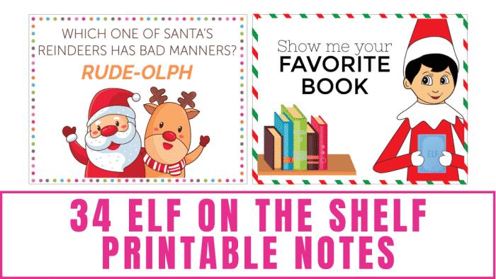 Elf on the Shelf printable notes
