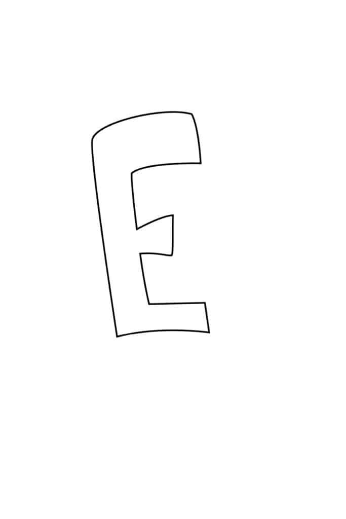 Graffiti Bubble Letter E Printable