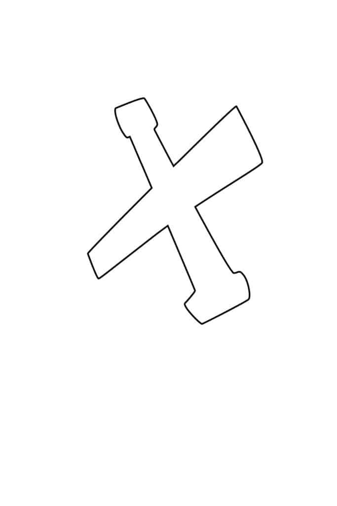 Graffiti Bubble Letter X Printable