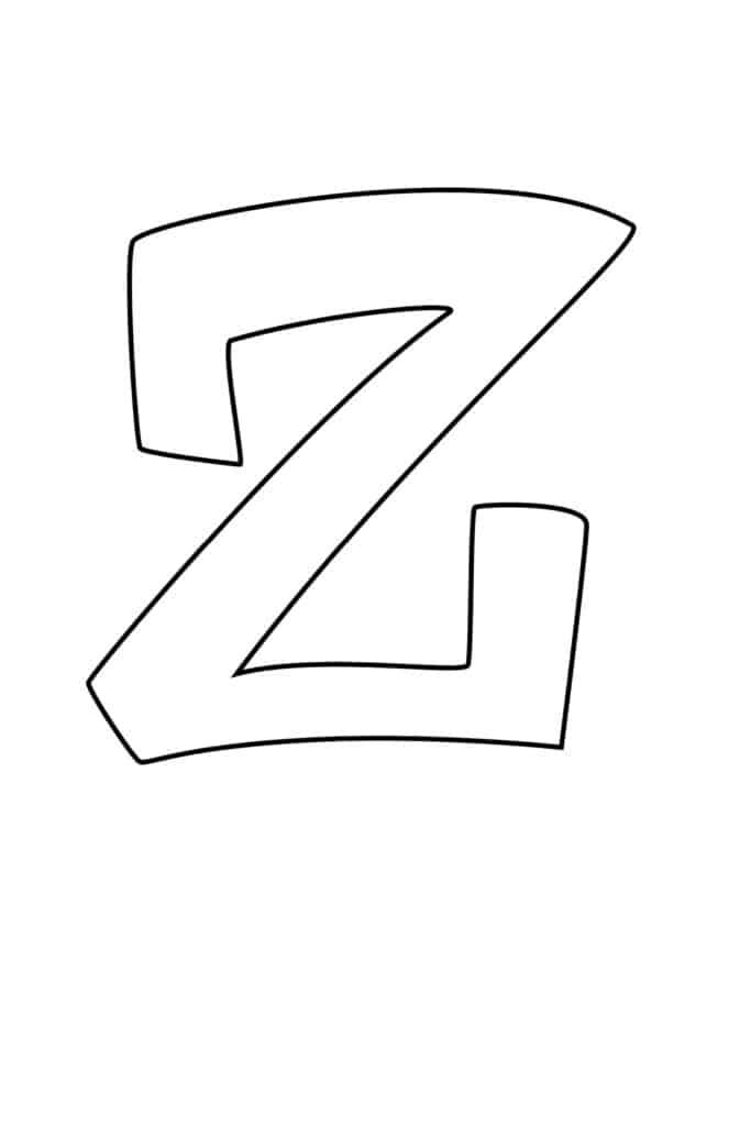 Graffiti Bubble Letter Z Printable