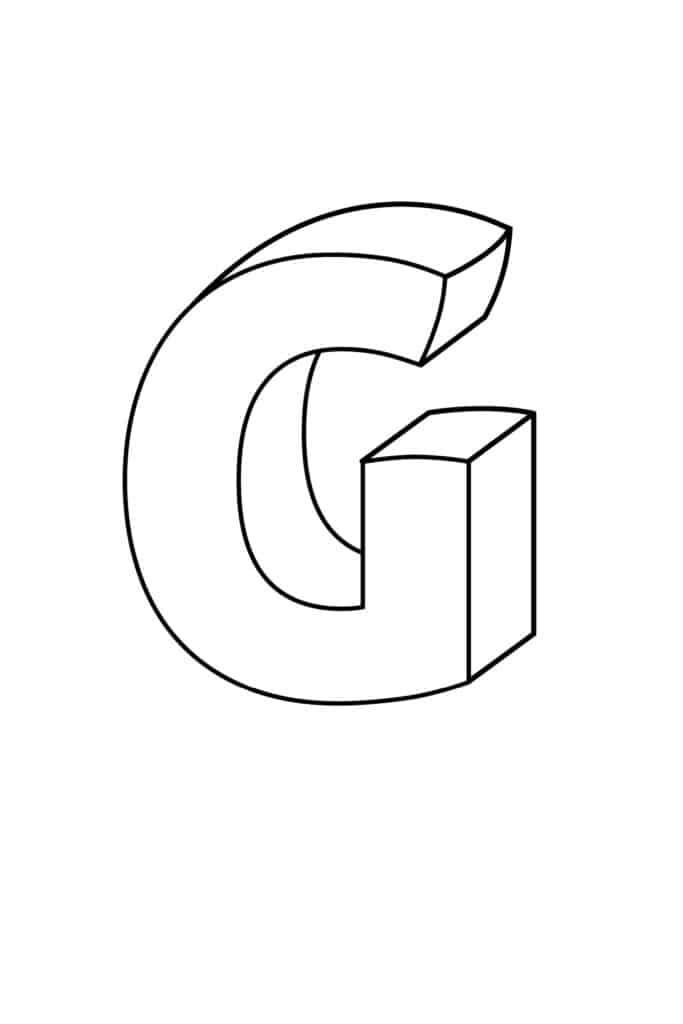 Printable 3D Bubble Letter G