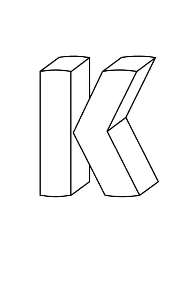 Printable 3D Bubble Letter K