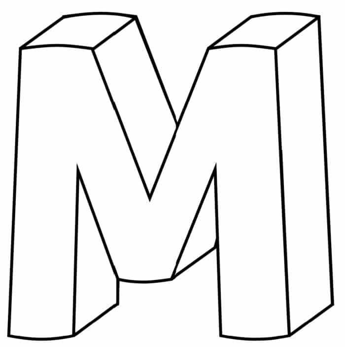 Printable 3D Bubble Letter M