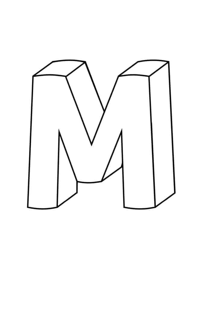 Printable 3D Bubble Letter M