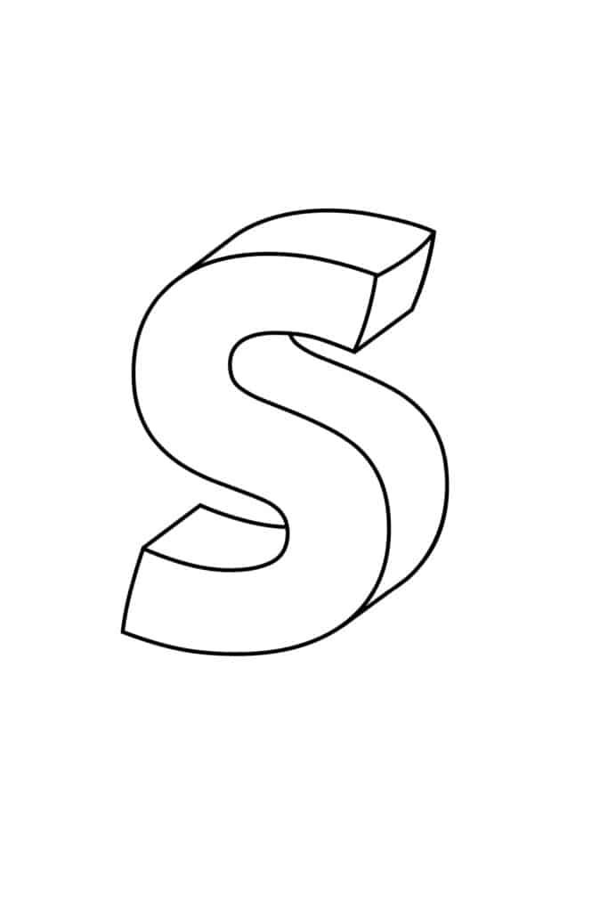 Printable 3D Bubble Letter S