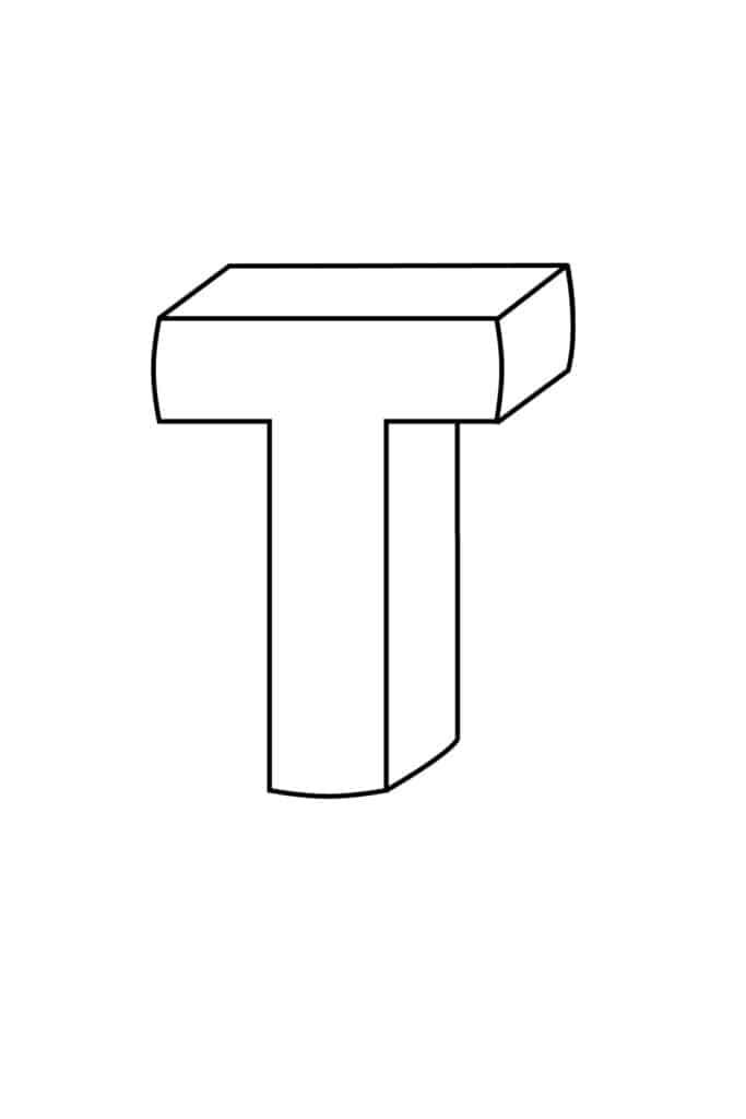 Printable 3D Bubble Letter T