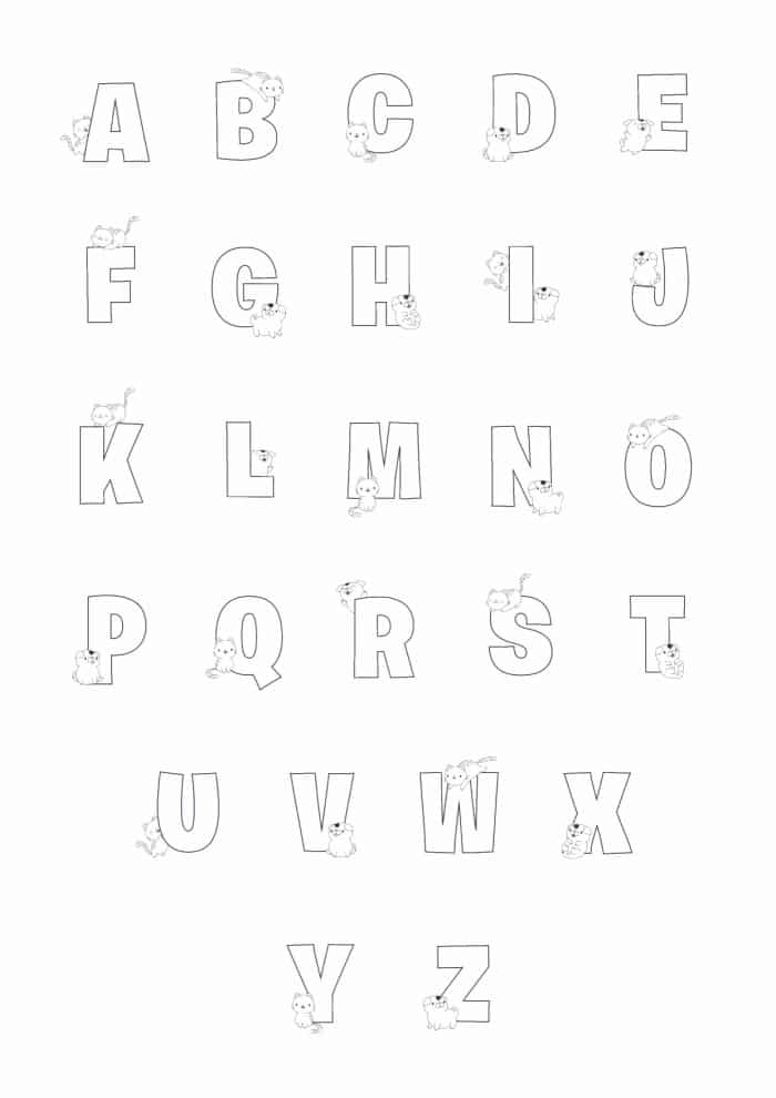 Printable Bubble Letters Cat and Dog Letters Set