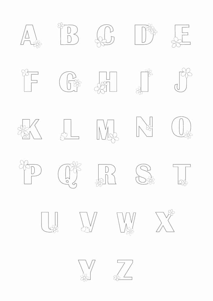 Printable Bubble Letters Flower Letters Set