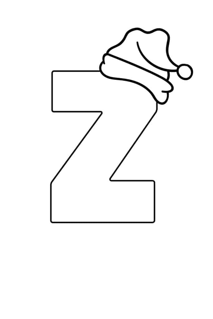Printable Christmas Bubble Letter Z