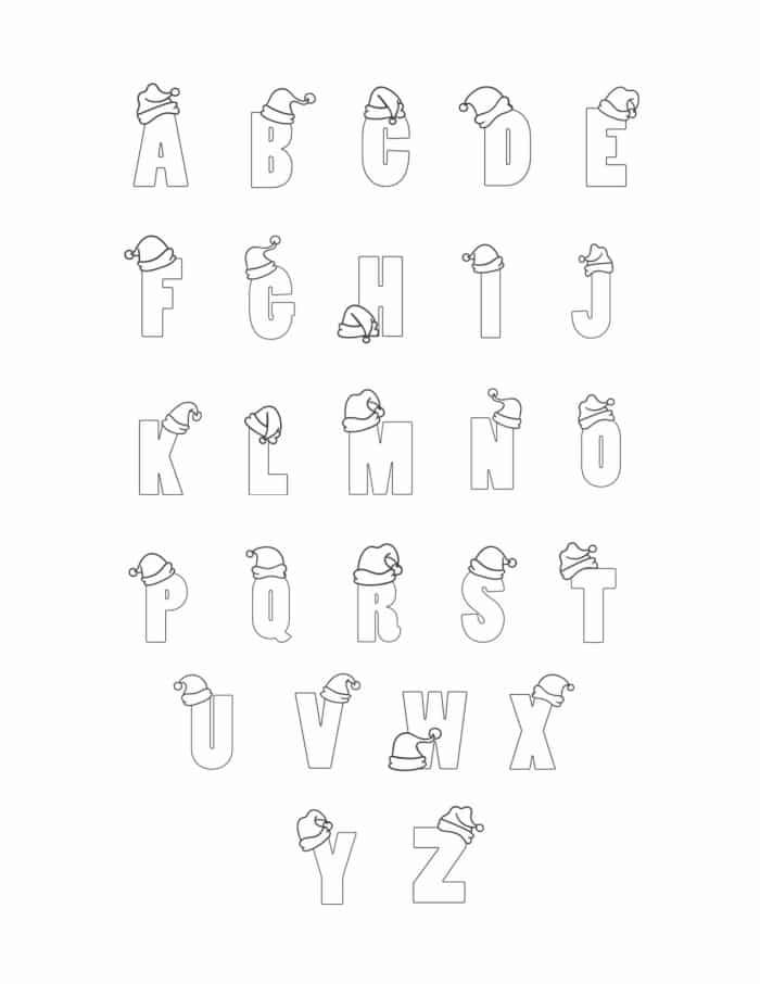 Printable Christmas Bubble Letters Set