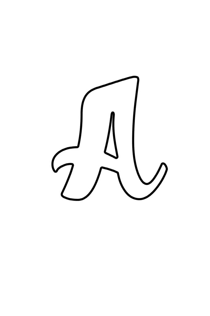 Printable Cursive Bubble Letter A