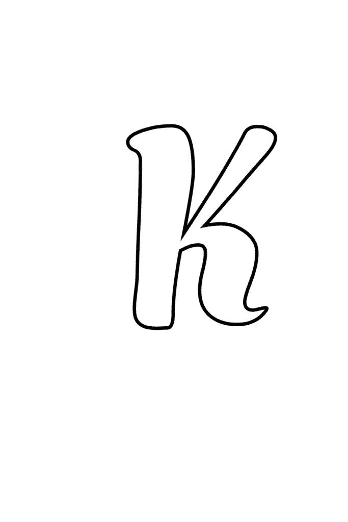 Printable Cursive Bubble Letter K