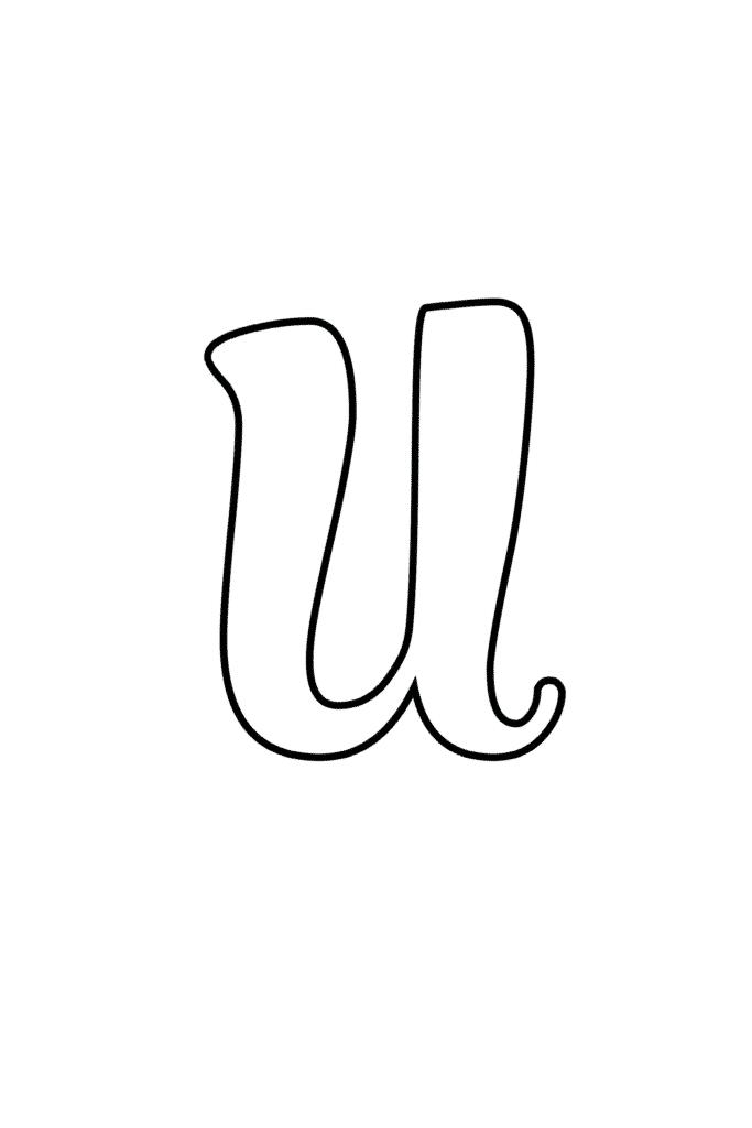 Printable Cursive Bubble Letter U
