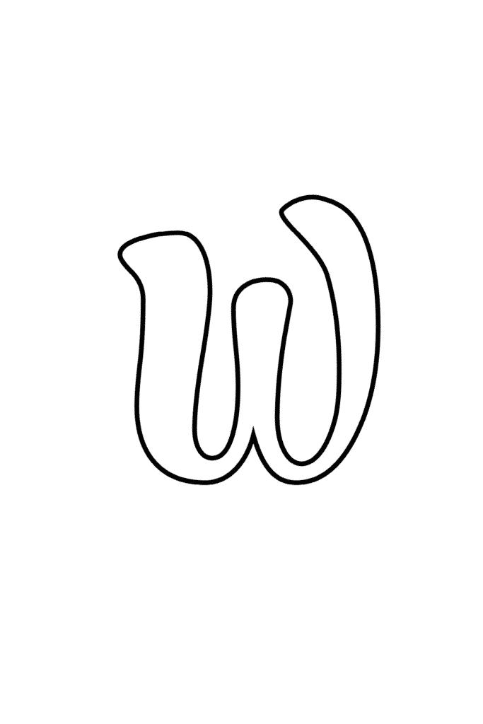 Printable Cursive Bubble Letter W