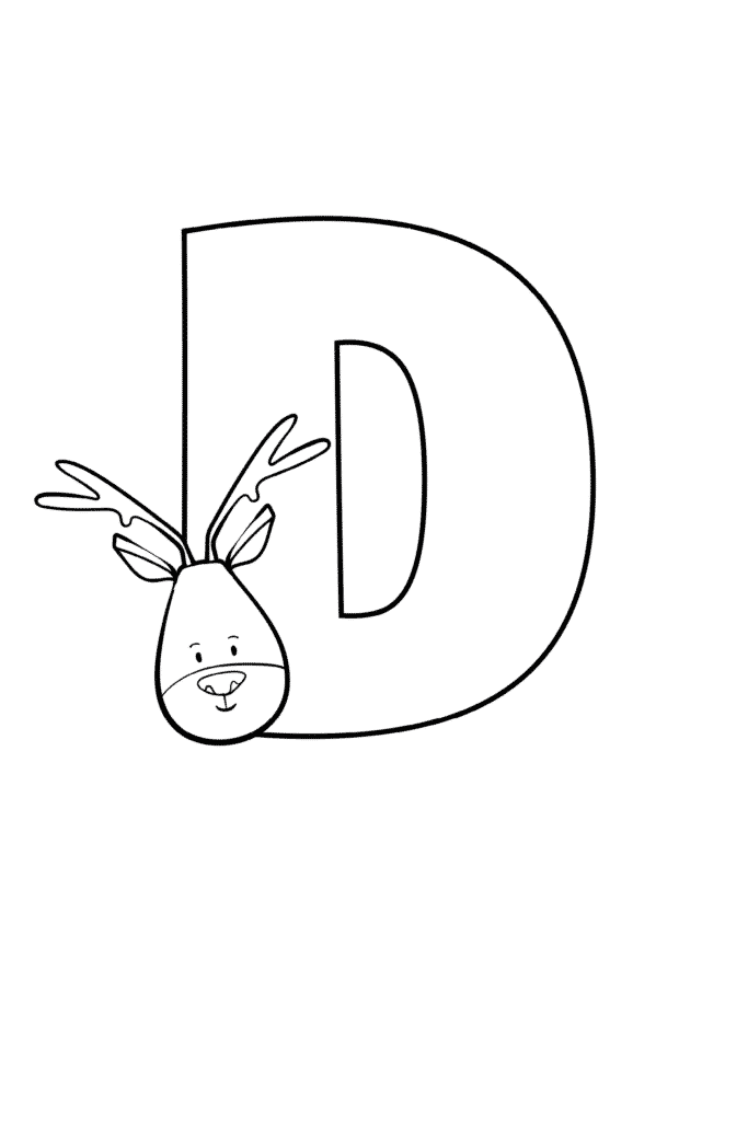 Printable Cute Bubble Letter D