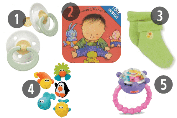 Cheap stocking stuffers for kids under the age of three include rattles and pacifiers