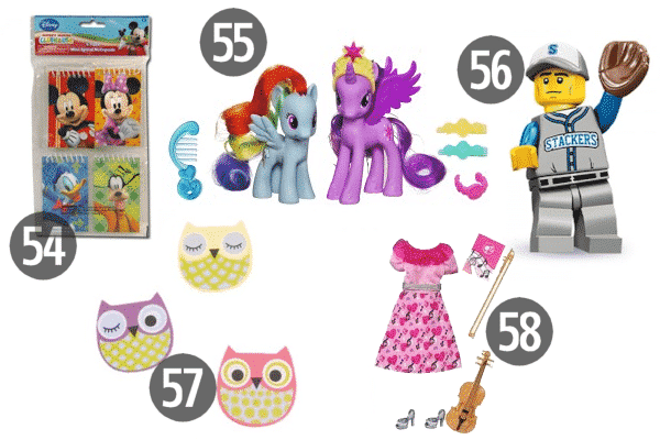 Most of these cheap stocking stuffers for kids, like Lego mini figures, work for boys or girls