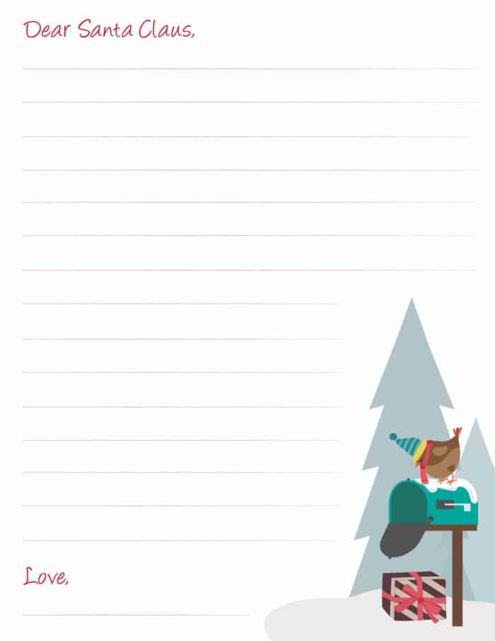 winter scene Santa letter template