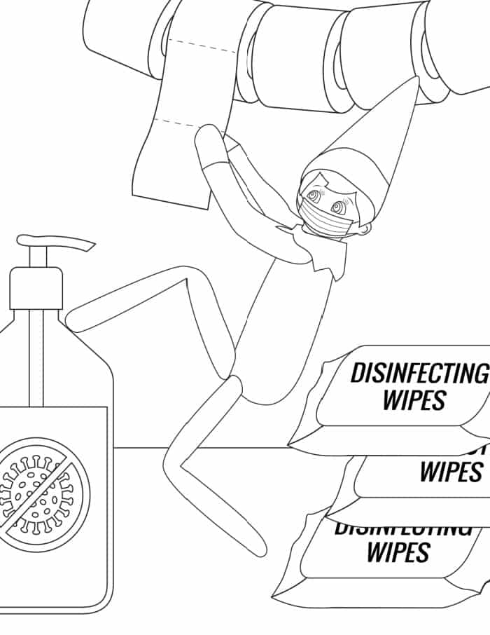 The last of the elf on the shelf printable coloring pages shows an elf with a mask, TP, hand sanitizer and disinfecting wipes