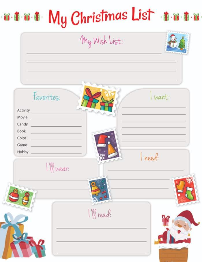 kids Christmas list printable