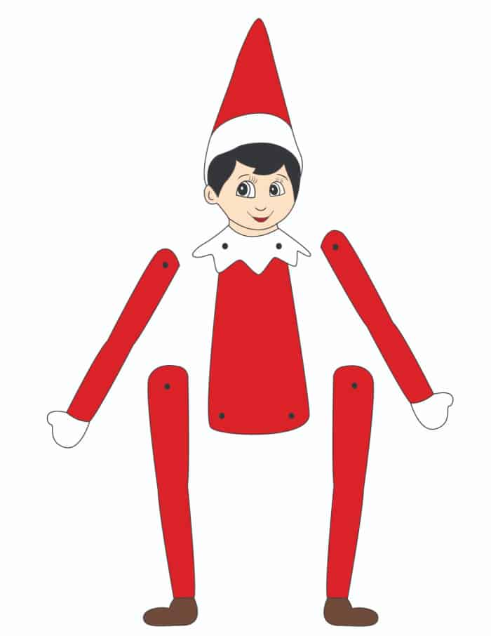 This pre-colored light skinned printable elf template is a quick and easy activity, perfect when you're pressed for time