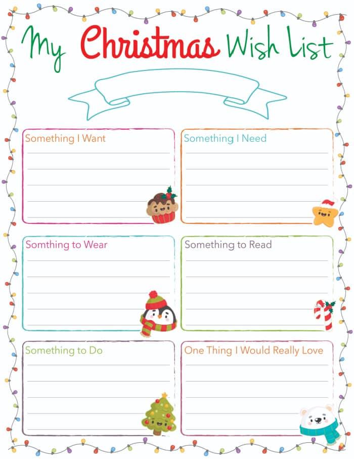printable Christmas list template