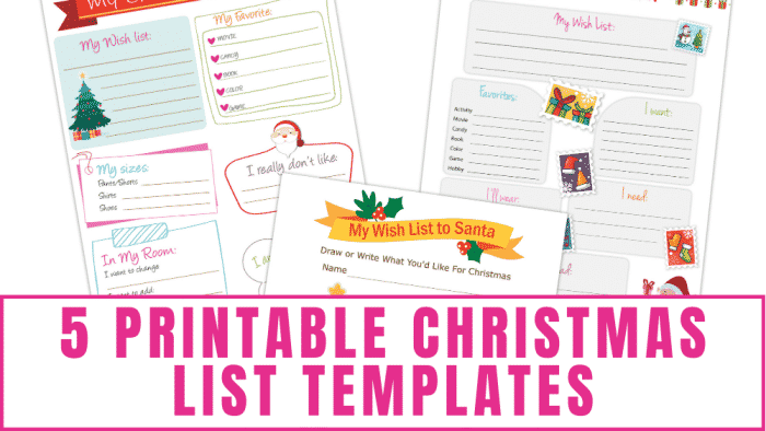 printable Christmas list templates