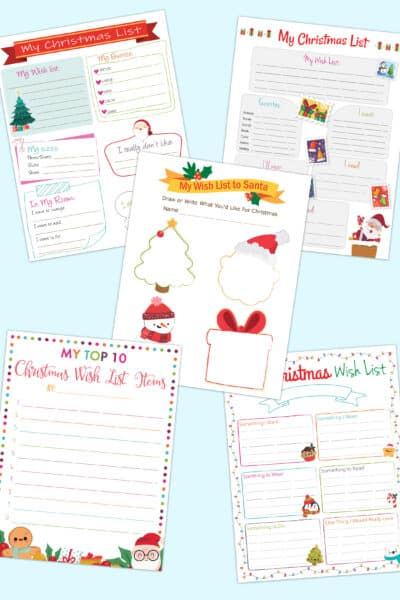 printable Christmas list templates
