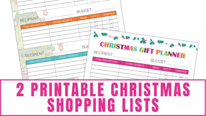 2 Christmas shopping lists to help you save money on Christmas gifts